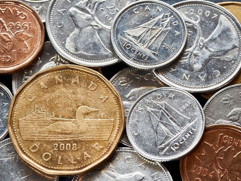Pièces de monnaie canadiennes.