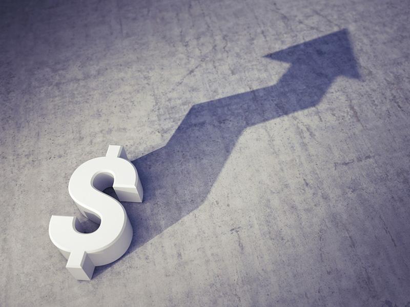Symbole de dollar avec flèche pointant vers le haut.